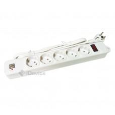 Сетевой фильтр Greelite 3 м на 5 розеток с USB